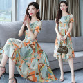 Dress Summer of 2018 Picture color S,M,L,XL Mid length dress singleton  Short sleeve commute Crew neck middle-waisted Decor Socket Irregular skirt routine Others 25-29 years old Korean version Asymmetry, printing 81% (inclusive) - 90% (inclusive) Chiffon