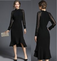 Dress Spring 2020 S,M,L,XL Middle-skirt singleton  Long sleeves street stand collar middle-waisted zipper Ruffle Skirt bishop sleeve Type A More than 95% other Cellulose acetate Europe and America