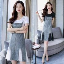 Dress Summer 2020 White, black S,M,L,XL,2XL,3XL,4XL,5XL Middle-skirt Two piece set Short sleeve Sweet Crew neck Solid color Socket Irregular skirt routine camisole Type H Pocket, stitching, strap, mesh Denim cotton Ruili