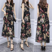 Dress Summer of 2019 Charming yellow with black background, flower with black background M,L,XL,2XL Mid length dress singleton  Sleeveless commute V-neck High waist Decor 25-29 years old Korean version More than 95% Chiffon polyester fiber