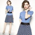 skirt Spring of 2019 S,M,L,XL T-shirt + skirt (without belt), T-shirt + skirt (with belt) Mid length dress High waist lattice Type A 81% (inclusive) - 90% (inclusive) polyester fiber