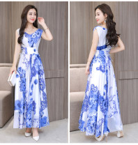 Dress Summer 2020 Blue and white (elegant Chiffon) with soft lining back zipper, green (elegant Chiffon) with soft lining back zipper, yellow (lace on both sides of waist) with elegant and drooping chiffon, black (lace on both sides of waist) with elegant and drooping chiffon M,L,XL,2XL,3XL longuette