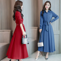 Dress Autumn of 2019 Red (for original belt), green (for original belt), blue (for original belt), black (for original belt) M,L,XL,2XL,3XL longuette singleton  Long sleeves commute stand collar middle-waisted Solid color Socket other other Others 25-29 years old Type A Other / other Korean version