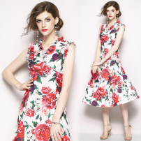 Dress Summer 2020 Rose print with ear edge (back zipper lining) S,M,L,XL,2XL Mid length dress street V-neck middle-waisted Decor Others Type O other