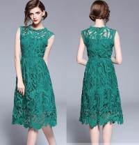 Dress Summer 2020 Green (water soluble hollow lace back zipper) S,M,L,XL Mid length dress Sleeveless street Crew neck High waist Solid color A-line skirt Type A Europe and America
