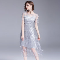 Dress Summer of 2019 Light gray (perspective three-dimensional flower with breast pad) S,M,L,XL,2XL,3XL Mid length dress Fake two pieces Short sleeve commute Crew neck middle-waisted other Socket A-line skirt other Others Type A Korean version Mosaic, flower other