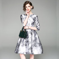Dress Spring 2020 Jacquard ink printed back zipper (inner lining) belt M,L,XL,2XL,3XL Middle-skirt singleton  elbow sleeve commute V-neck middle-waisted Decor zipper Big swing routine Others 30-34 years old Type X Korean version printing 81% (inclusive) - 90% (inclusive) other other