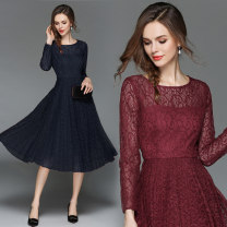 Dress Spring of 2019 Navy, Burgundy, black S,M,L,XL Middle-skirt other Long sleeves commute Crew neck middle-waisted Pleated skirt routine Others 30-34 years old Type A More than 95% Lace Cellulose acetate
