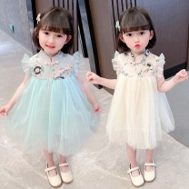 Dress Apricot, lake blue female Other / other The recommended height is about 75cm for size 80, 85CM for Size 90, 105cm for size 100, 105cm for Size 110, 115cm for Size 120 and 125cm for Size 130 Other 100% spring and autumn Korean version Short sleeve other other Cake skirt QGZ210405-07