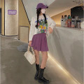skirt Autumn 2020 S, M Purple, black Short skirt High waist Pleated skirt Solid color Type A W03103 51% (inclusive) - 70% (inclusive) other other