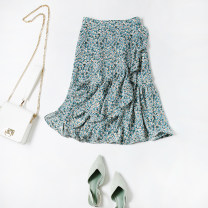 skirt Spring 2021 S,M,L,XL green Mid length dress commute High waist A-line skirt Type A Korean version