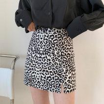 skirt Spring 2021 S,M,L black Short skirt commute High waist A-line skirt Leopard Print Type A 18-24 years old 71% (inclusive) - 80% (inclusive) other polyester fiber zipper Korean version