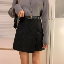 skirt Winter 2020 S,M,L Black, apricot, brown Short skirt commute High waist A-line skirt Solid color Type A 18-24 years old 71% (inclusive) - 80% (inclusive) Wool polyester fiber Button Korean version