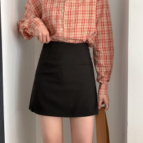 skirt Spring 2021 S,M,L Black, blue Short skirt commute High waist Pleated skirt Solid color Type A 18-24 years old 51% (inclusive) - 70% (inclusive) other polyester fiber Zipper, asymmetric Korean version