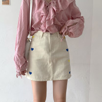 skirt Summer 2021 S,M,L,XL Apricot, blue, black Short skirt commute High waist A-line skirt other Type A 18-24 years old 71% (inclusive) - 80% (inclusive) Denim cotton Embroidery, buttons, zippers Korean version