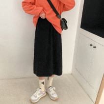 skirt Winter 2020 Average size Apricot, black, coffee longuette commute High waist A-line skirt Solid color Type A 18-24 years old 71% (inclusive) - 80% (inclusive) corduroy cotton Korean version