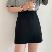 skirt Spring 2021 S,M,L black Short skirt commute High waist A-line skirt Solid color Type A 18-24 years old 71% (inclusive) - 80% (inclusive) other polyester fiber zipper Korean version