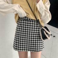 skirt Winter 2020 S,M,L black Short skirt commute High waist A-line skirt lattice Type A 18-24 years old Wool polyester fiber zipper