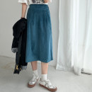 skirt Autumn 2020 Average size Malachite blue Mid length dress commute High waist A-line skirt Solid color Type A 18-24 years old 51% (inclusive) - 70% (inclusive) corduroy cotton Asymmetry Korean version