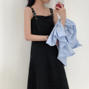 Dress Summer 2021 black S,M,L Mid length dress singleton  Sleeveless commute square neck High waist Solid color Socket A-line skirt straps 18-24 years old Type A Korean version 51% (inclusive) - 70% (inclusive) other cotton