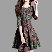 Dress Autumn of 2018 S,M,L,XL,2XL Middle-skirt singleton  three quarter sleeve commute Crew neck middle-waisted Decor Socket A-line skirt routine Others 35-39 years old Type A Other / other lady Stitching, zipper, printing