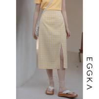 skirt Spring 2021 S,M,L Black, yellow, blue, size chart Mid length dress commute High waist A-line skirt lattice Type A 18-24 years old B21156-H 51% (inclusive) - 70% (inclusive) EGGKA cotton Korean version