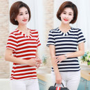 Middle aged and old women's wear Summer 2020 Navy, pink, red, khaki, sky blue XL [recommended 85-100 kg], 2XL [recommended 100-115 kg], 3XL [recommended 115-130 kg], 4XL [recommended 130-145 kg], 5XL [recommended 145-160 kg] leisure time T-shirt singleton  stripe 40-49 years old Socket thin V-neck