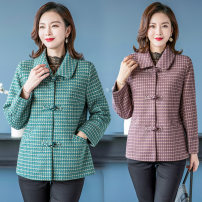 Middle aged and old women's wear Spring 2021, autumn 2021 Red, green, light purple XL [recommended 85-100 kg], 2XL [recommended 100-115 kg], 3XL [recommended 115-130 kg], 4XL [recommended 130-145 kg], 5XL [recommended 145-160 kg] fashion Jacket / jacket Self cultivation singleton  other Cardigan