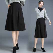 skirt Autumn 2020 Medium length skirt High waist A-line skirt 30% and below commute polyester fiber Solid color 18-24 years old Type A New European clothes Qz62-99102 elastic waist casual skirt other Ol style M [2-foot-1], l [2-foot-1], XL [2-foot-2], 2XL [2-foot-3], 3XL [2-foot-4], 4XL [2-foot-5]