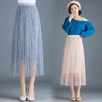 skirt Winter of 2018 One size fits all [1'8-2'5 recommended] Grey, black, pink Mid length dress Versatile High waist Pleated skirt Type A 25-29 years old Qz65-a910 lace pearl skirt More than 95% Lace New European clothes
