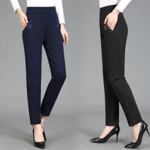 Middle aged and old women's wear Spring 2021, summer 2021, autumn 2021 Navy blue, black XL [recommended 85-100 kg], 2XL [recommended 100-115 kg], 3XL [recommended 115-130 kg], 4XL [recommended 130-145 kg], 5XL [recommended 145-160 kg] fashion trousers Straight cylinder singleton  other moderate