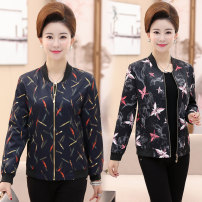 Middle aged and old women's wear Spring of 2019 One feather flower, two lilies XL [recommended 90-105 kg], 2XL [recommended 105-120 kg], 3XL [recommended 120-135 kg], 4XL [recommended 135-150 kg] fashion Jacket / jacket Straight cylinder singleton  Decor 40-49 years old Cardigan moderate stand collar
