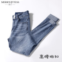 Jeans Spring of 2019 25 26 27 28 29 30 31 32 Ninth pants High waist Pencil pants routine 18-24 years old Make old color drawing wash white zipper button Multi Pocket color contrast Cotton elastic denim light colour MT8688 Murry Tess Pure e-commerce (online only)