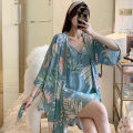 Nightgown / bathrobe Other / other female M,L,XL Thin money Sweet viscose  spring More than 95% Medium length (knee to Mid Calf) poplin  Plants and flowers youth printing