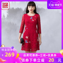 Dress Spring of 2019 Dark green Chinese Red 160/80A/S 165/84A/M 170/88A/L 175/92A/XL 180/96A/XXL 185/100A/XXXL Short skirt singleton  three quarter sleeve Sweet Crew neck Socket routine 30-34 years old fishing FFLA0103 30% and below polyester fiber Viscose (viscose) 73.1% polyester 26.9% Countryside