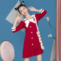 Dress Autumn 2020 Red, Navy S,M,L,XL,2XL Middle-skirt singleton  Long sleeves Sweet Admiral middle-waisted Solid color Socket other routine Others 18-24 years old Type A 81% (inclusive) - 90% (inclusive) brocade cotton college