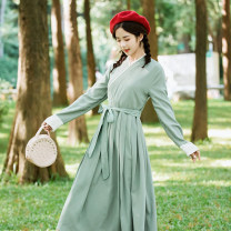 Dress Autumn of 2019 Black, green, pink S,M,L,XL Mid length dress singleton  Long sleeves commute other middle-waisted Solid color other A-line skirt other Others 25-29 years old Type A literature Pleated, zipper 51% (inclusive) - 70% (inclusive) other polyester fiber
