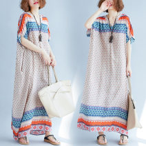 Dress Spring 2021 Decor Big size average longuette singleton  Short sleeve commute V-neck Loose waist Decor Socket A-line skirt other 25-29 years old Type A Retro 51% (inclusive) - 70% (inclusive) other cotton