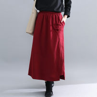 skirt Autumn of 2019 Average size Black, maroon Mid length dress Versatile High waist A-line skirt Solid color Type A 51% (inclusive) - 70% (inclusive) other Other / other cotton pocket