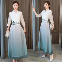 Dress Spring 2021 White gradient S,M,L,XL,2XL,3XL longuette singleton  three quarter sleeve commute V-neck High waist scenery A-line skirt routine Others 30-34 years old Type A Retro Embroidery 51% (inclusive) - 70% (inclusive) Chiffon Cellulose acetate