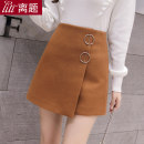 skirt Autumn 2020 S M L XL XXL Black Brown Short skirt commute High waist Irregular Solid color Type A 25-29 years old More than 95% Wool Digression polyester fiber Three dimensional decorative asymmetric zipper Korean version Polyester 100% Pure e-commerce (online only)
