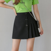 skirt Spring 2020 S M L XL XXL Black and white Short skirt Sweet High waist A-line skirt Solid color Type A 18-24 years old 91% (inclusive) - 95% (inclusive) Chiffon Digression polyester fiber Asymmetric button zipper Polyester fiber 94% polyurethane elastic fiber (spandex) 6% college