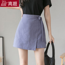 skirt Summer 2020 S M L XL XXL Short skirt commute High waist Irregular Solid color Type A 25-29 years old More than 95% other Digression cotton Frenulum asymmetry Korean version Cotton 100% Pure e-commerce (online only)