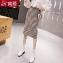 skirt Autumn 2020 S M L XL XXL Greige, chage Mid length dress commute High waist skirt lattice Type H 25-29 years old More than 95% Wool Digression polyester fiber zipper Korean version Polyester 100% Pure e-commerce (online only)
