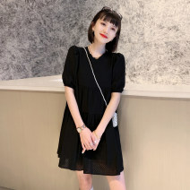 Dress Spring 2021 Black, white S,M,L Mid length dress singleton  Short sleeve street Crew neck High waist Solid color Socket A-line skirt puff sleeve Others 25-29 years old Type A Splicing LNLY0325B10 91% (inclusive) - 95% (inclusive) other other Europe and America