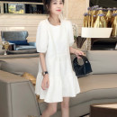 Dress Spring 2021 white S,M,L Mid length dress singleton  Short sleeve street Crew neck High waist Solid color Socket A-line skirt routine 25-29 years old Type A Fold, splice WYLY0330B04 91% (inclusive) - 95% (inclusive) other other Europe and America