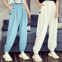 Casual pants White, blue, pink S,M,L Spring 2021 Ninth pants Haren pants High waist street routine 25-29 years old 91% (inclusive) - 95% (inclusive) CNXZ0305B09 other pocket Europe and America
