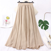 skirt Summer 2020 Average size Blue, black, khaki, apricot, white, lotus root powder, light blue gray Mid length dress commute High waist Umbrella skirt Solid color Type A other Pleating literature