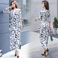 Dress Spring 2021 S,M,L,XL,2XL longuette singleton  three quarter sleeve commute V-neck middle-waisted Decor routine Type A Korean version