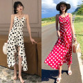 Dress Summer 2021 White, red S,M,L,XL longuette singleton  Sleeveless Sweet V-neck High waist Dot Socket other camisole 18-24 years old Type A Pleating 81% (inclusive) - 90% (inclusive) Chiffon polyester fiber Bohemia